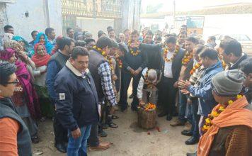 अजरौंदा गांव में पानी की लाइन के कार्य का शुभारंभ